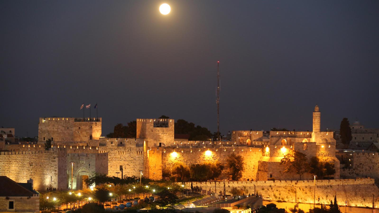 Old city Jerusalem at night David's Tower and the Old City walls
